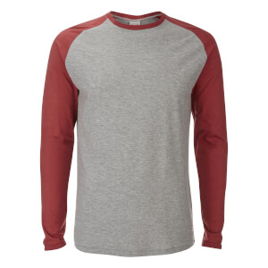 T-Shirt Originals Stan Raglan Manches Longues Jack & Jones -Gris/Rouge