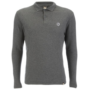 Pretty Green Men's Long Sleeve Knitted Polo Shirt - Charcoal