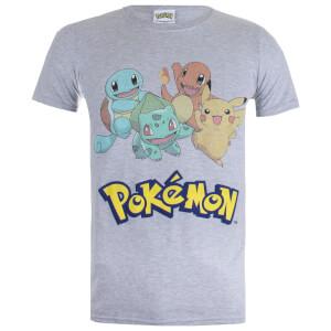 Pokémon Starters Heren T-Shirt - Grijs