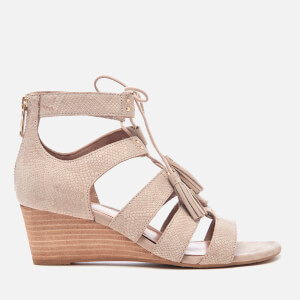 UGG Women's Yasmin Snake Tassle Leather Wedged Sandals - Horchata