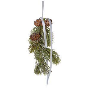 Bark & Blossom Cone and Pine Hanging Decoration - Green