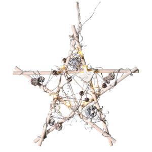 Bark & Blossom Wooden Star - White