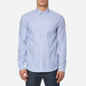 KENZO Men's Cartoons Striped Oxford Shirt - Perriwinkle