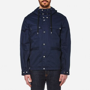 KENZO Men's Cotton Twill Arm Logo Parka - Midnight Blue