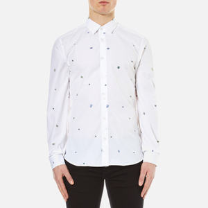 KENZO Men's Charms Fil Coupe Jaquard Shirt - White