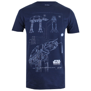 Star Wars: Rogue One Mens AT-AT Schematic T-Shirt - Navy