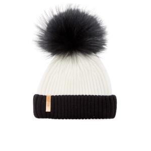 BKLYN Women's Merino Wool Hat with Black Pom Pom - White/Black
