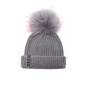 BKLYN Women's Merino Wool Hat with Grey/Pink Pom Pom - Mid Grey