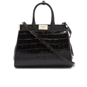Aspinal of London Women's Small Snap Bag - Black Croc