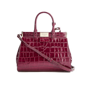 Aspinal of London Women's Small Snap Bag - Bordeaux Croc