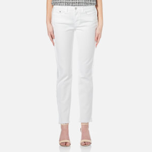 Karl Lagerfeld Women's Fringe Detail Denim Jeans - White