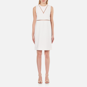 Alexander Wang Women's Crew Neck Fish Line Detail Straight Cut Dress - Bone