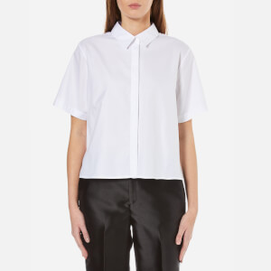 T by Alexander Wang Women's Lightweight Cotton Poplin Short Sleeve Shirt - White