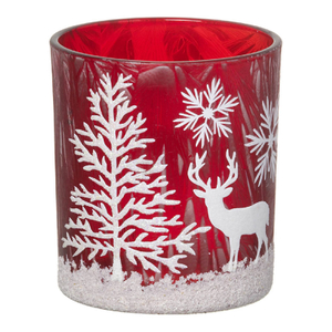 Parlane Winter Forest Glass Tealight Holder - Red (8 x 7.5cm)
