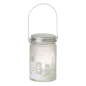 Parlane Winter LED Glass Jar - White (14cm)