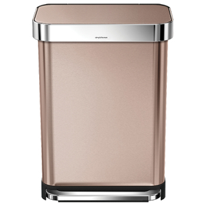 simplehuman Rectangular Brushed Steel Pedal Bin with Liner Pocket - Rose Gold 55L