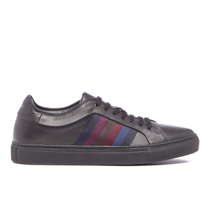 Paul Smith Men's Ivo Leather Court Trainers - Black Classic Calf/Stripe Webbing