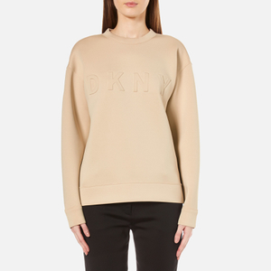 DKNY Women's Long Sleeve Pullover with Front Logo - Nude