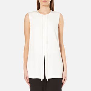 DKNY Women's Sleeveless Short Jumpsuit with Fringe and Piping - Gesso/Black