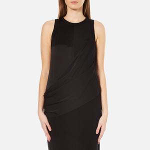 DKNY Women's Sleeveless Mixed Media Wrap Front Dress with Side Slits - Black