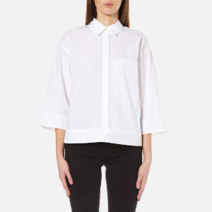 DKNY Women's Pure 3/4 Sleeve Shirt with Hidden Placket and Pocket - White