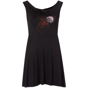 Robe Rose Blanche Spiral - Noir