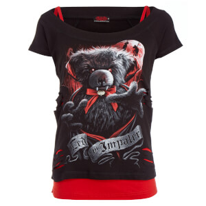 Spiral Women's Ted The Impaler 2-in-1 Ripped Top - Black/Red