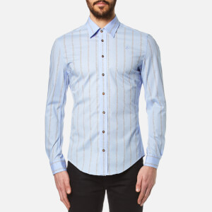 Vivienne Westwood MAN Men's Stretch Poplin Stripe Long Sleeve Shirt - Sky