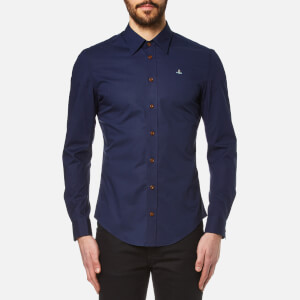 Vivienne Westwood MAN Men's Stretch Poplin Long Sleeve Shirt - Navy