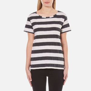 Maison Scotch Women's Loose Fit T-Shirt in Stripes - Multi