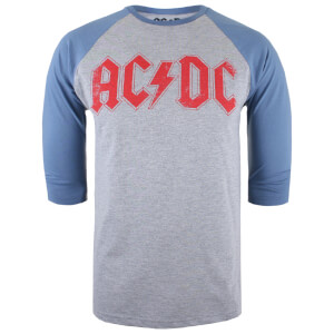 ACDC Men's Logo Raglan Logo 3/4 T-Shirt - Grey Marl/Blue