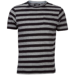 Brave Soul Men's Gravel Stripe T-Shirt - Jet Black/Ecru