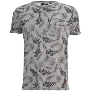 Brave Soul Men's Leaf Print T-Shirt - Grey Marl/Navy