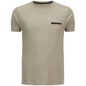 Brave Soul Men's Faustian Zip Pocket T-Shirt - Mushroom