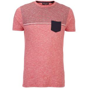 Brave Soul Men's Lenin Stripe Pocket T-Shirt - Red/Navy/White