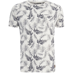 Brave Soul Men's Leaf Print T-Shirt - Ecru/Navy