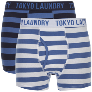 Tokyo Laundry Men's Esterbrooke 2 Pack Striped Boxers - Federal Blue/Optic White