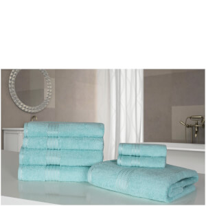 Highams 100% Egyptian Cotton 7 Piece Towel Bale - Aqua Blue