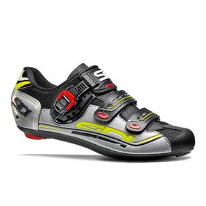 Sidi Genius 7 Cycling Shoes - Black/Silver/Yellow Fluro