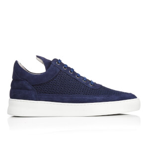 Filling Pieces Men's Fundament Mesh Suede Low Top Trainers - Navy