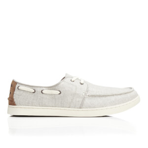 TOMS Men's Culver Linen Boat Shoes - Drizzle Grey Coated Linen