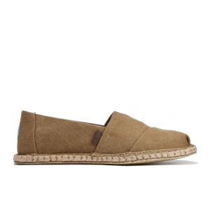 TOMS Men's Seasonal Classics Washed Canvas Espadrille Slip-On Pumps - Toffee Washed Canvas/Blanket Stitch