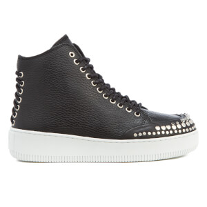 McQ Alexander McQueen Women's Netil Laced Eyelets Leather Hi-Top Trainers - Black