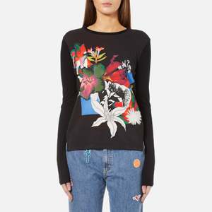 PS by Paul Smith Women's Floral Long Sleeve Top - Black