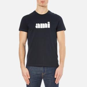 AMI Men's Logo Front Crew Neck T-Shirt - Navy Blue
