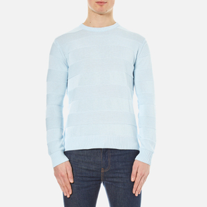 AMI Men's Crew Neck Wide Stripe Sweatshirt - Sky Blue