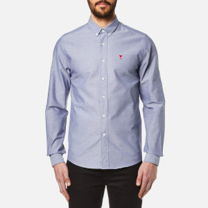 AMI Men's Heart Logo Oxford Shirt - Indigo