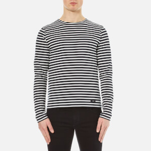 AMI Men's Crew Neck Breton Long Sleeve T-Shirt - Navy/White