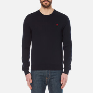 AMI Men's Crew Neck Merino Knitted Jumper - Navy