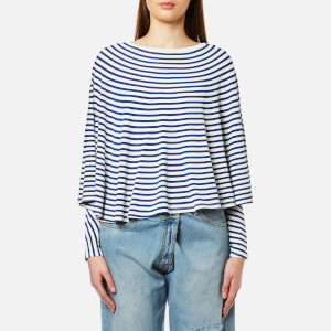 MM6 Maison Margiela Women's Striped Long Sleeve Cape Top - Off White/Blue Stripe